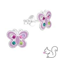 Lila pillangó kristály és cirkónia fülbevaló