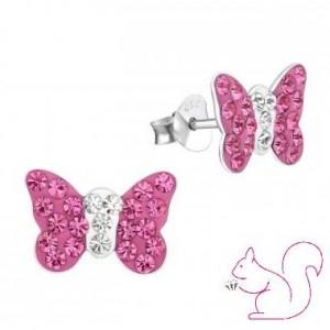 Pillangós köves fülbevaló, pink