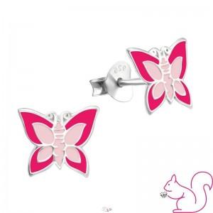 Pillangós gyermek fülbevaló, ezüst, pink