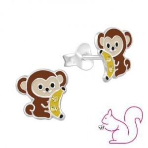Majom banánnal ezüst fülbevaló