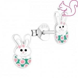 Húsvéti nyuszi fülbevaló, tojásban