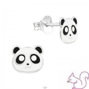 Pandafej gyermek fülbevaló, ezüst