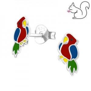 Papagáj ezüst fülbevaló