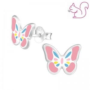 Pillangó színes stift ezüst fülbevaló