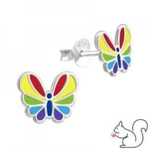 Szivárvány színű pillangós stift ezüst fülbevaló