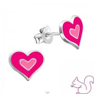 Pink szíves fülbevaló, ezüst