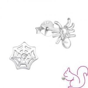 Pók és hálója ezüst kristály fülbevaló