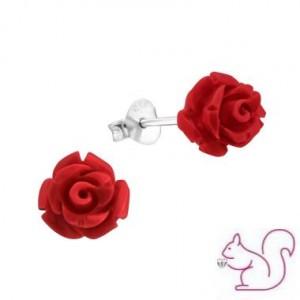 Rózsás ezüst fülbevaló