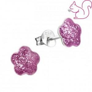 Glitteres, pink virág ezüst fülbevaló