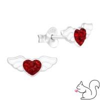Piros szív szárny stiift ezüst fülbevaló