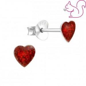 Glitteres szív fülbevaló, ezüst