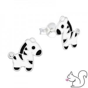 Zebra ezüst fülbevaló