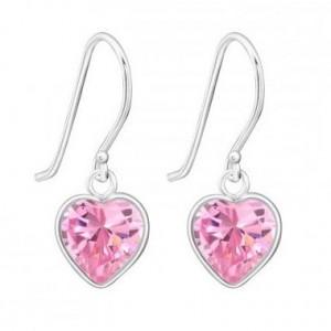 Pink szíves akasztós ezüst fülbevaló