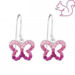 Lepkés, pink köves ezüst fülbevaló, akasztós