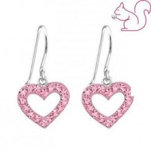 Szíves ezüst fülbevaló, pink