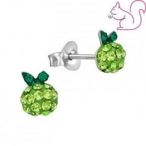 Zöld köves alma fülbevaló