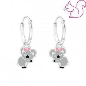 Koala karika ezüst fülbevaló