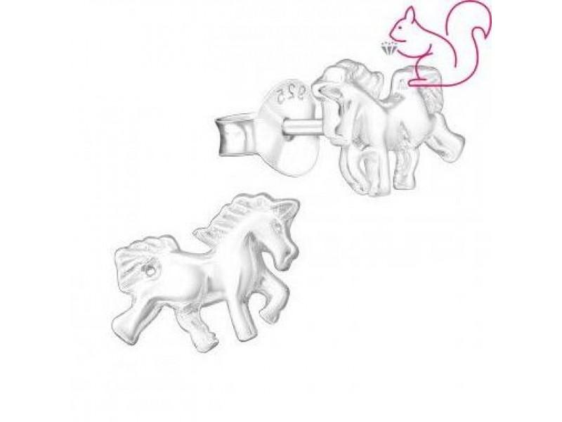 Ezüst lovas fülbevaló