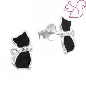 Fekete cicás fülbevaló