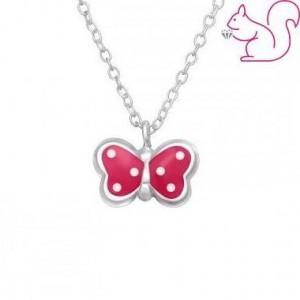 Pink lepkés nyaklánc