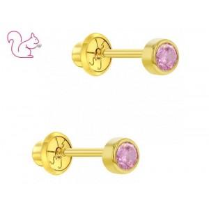 14k arany - Rózsaszín köves baba aranyfülbevaló