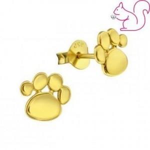 Aranyozott kutya lábnyom ezüst fülbevaló