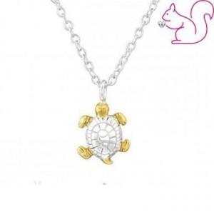 Aranyozott teknős ezüst nyaklánc
