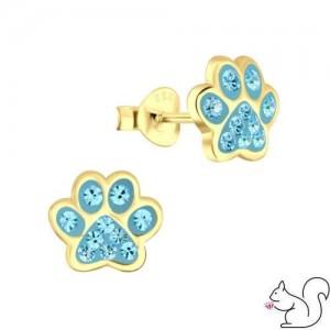 Kék kristályos 14k aranyozott kutya mancs stift fülbevaló