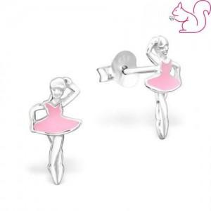 Balerina lány fülbevaló, ezüst