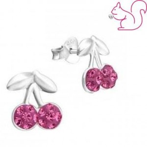 Cseresznye fülbevaló, ezüst