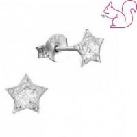Glitteres csillag fülbevaló, ezüst