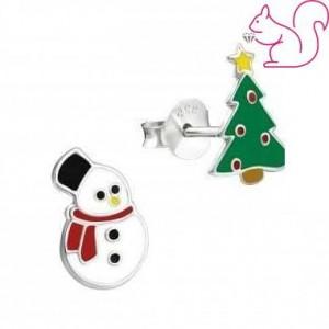 Hóember és karácsonyfa fülbevaló, ezüst