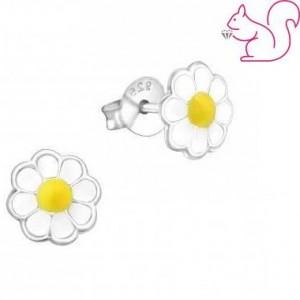 Kamilla virágos fülbevaló, ezüst