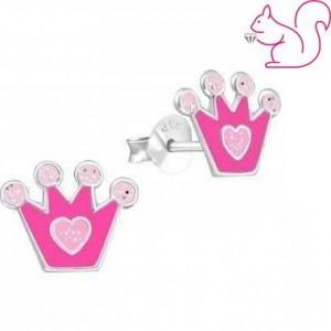 Pink korona fülbevaló, ezüst