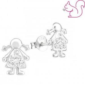 Lány fülbevaló, ezüst, Swarovski