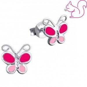 Pink lepkés fülbevaló, ezüst