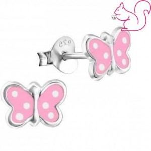 Pink ezüst lepke fülbevaló