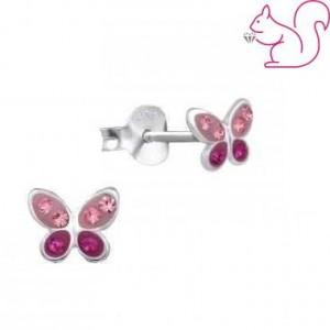 Pink lepkés fülbevaló