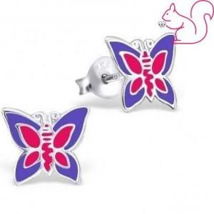 Pillangós gyermek fülbevaló, ezüst