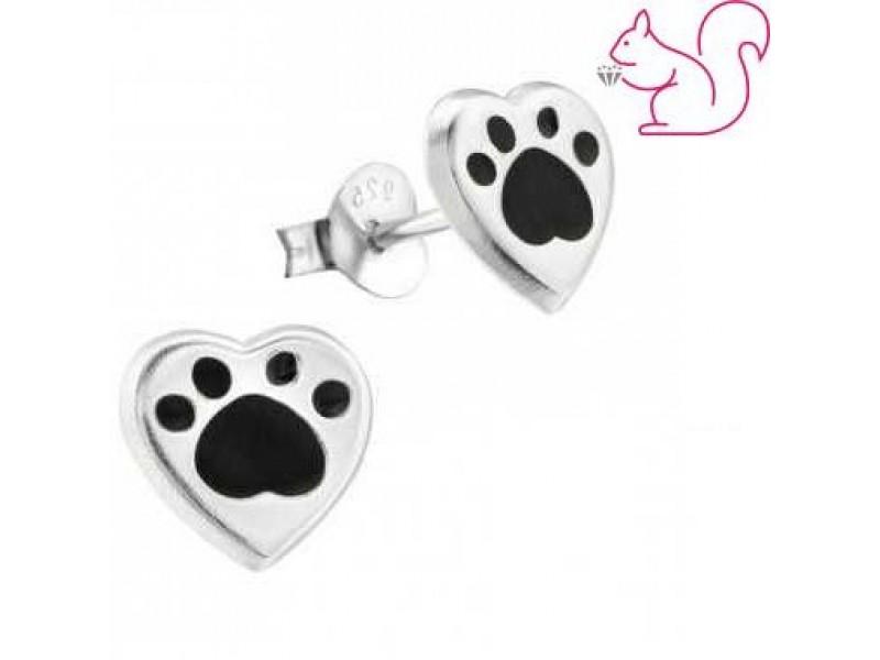 Szív kutya lábnyom fülbevaló, ezüst