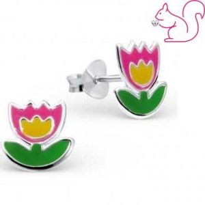 Tulipán ezüst fülbevaló