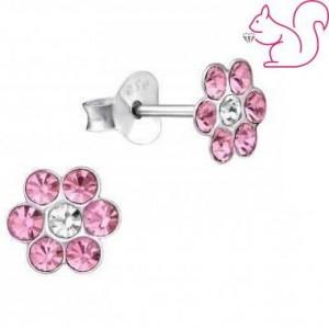 Köves virágos fülbevaló, pink