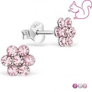 Köves virágos fülbevaló, ezüst,  2 színben