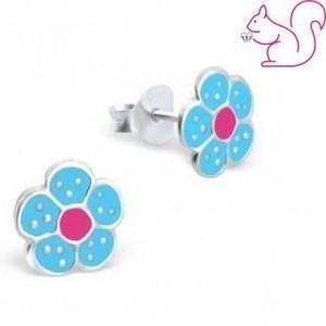 Kék virágos ezüst lány fülbevaló