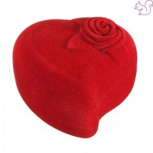 Piros szív bársony ékszertartó doboz