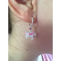 Kristály egyszarvú fülbevaló, pink