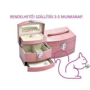 Ékszertartó doboz, rózsaszín, 3 szintes