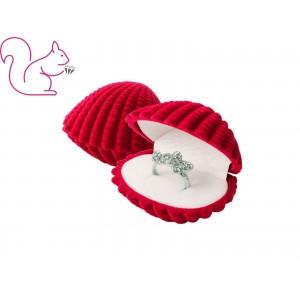 Kagyló bársony ékszertartó doboz, piros
