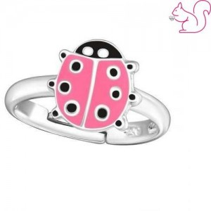 Pink katicabogár gyerek gyűrű, ezüst