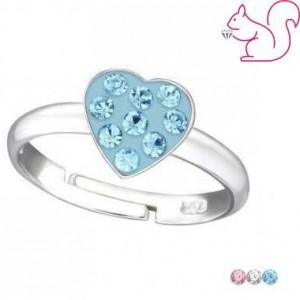 Szíves, köves gyűrű, ezüst
